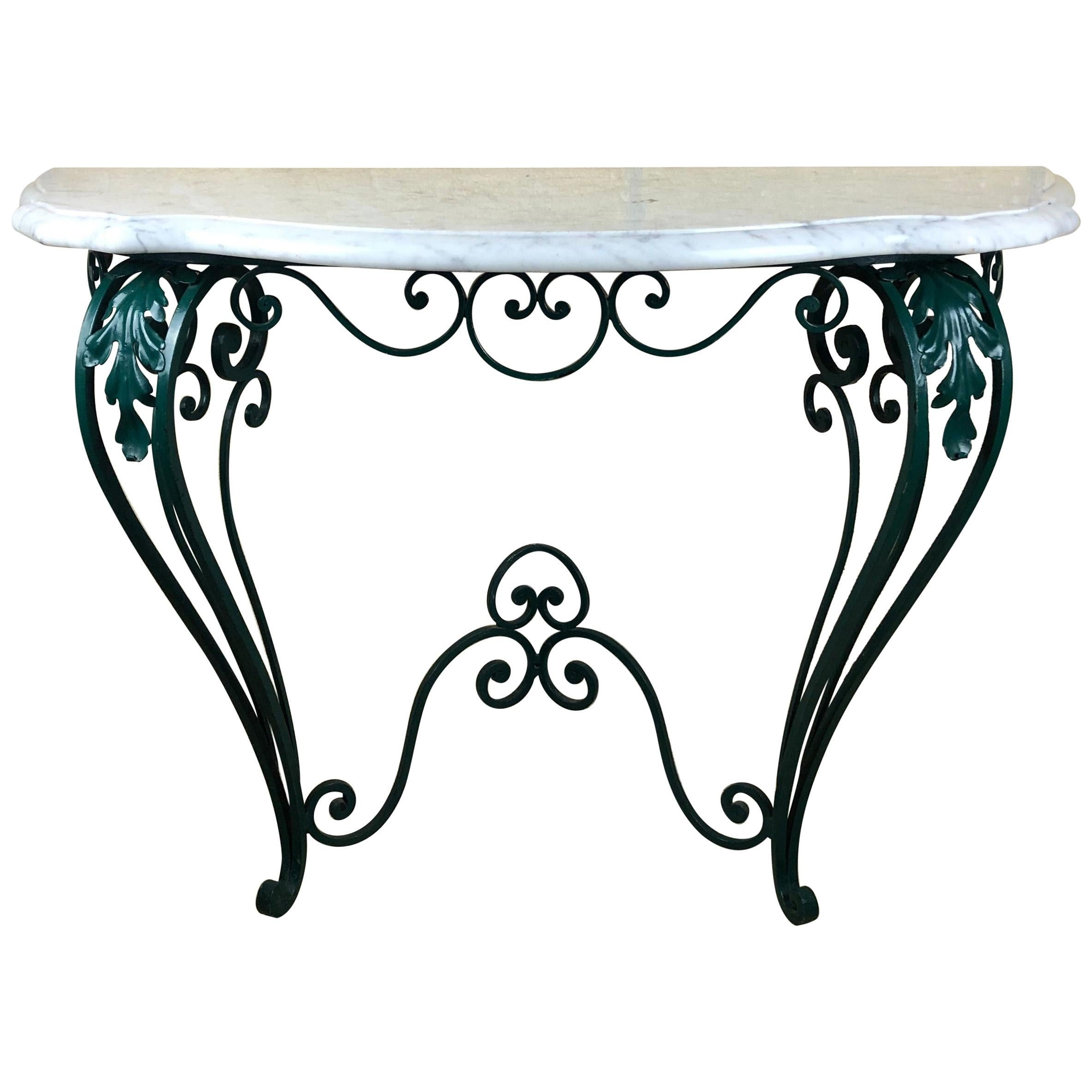 French Louis XV Style Wrought Iron Console Table with White Marble Top
