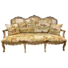 French Louis XV Tapestry Settee Sofa