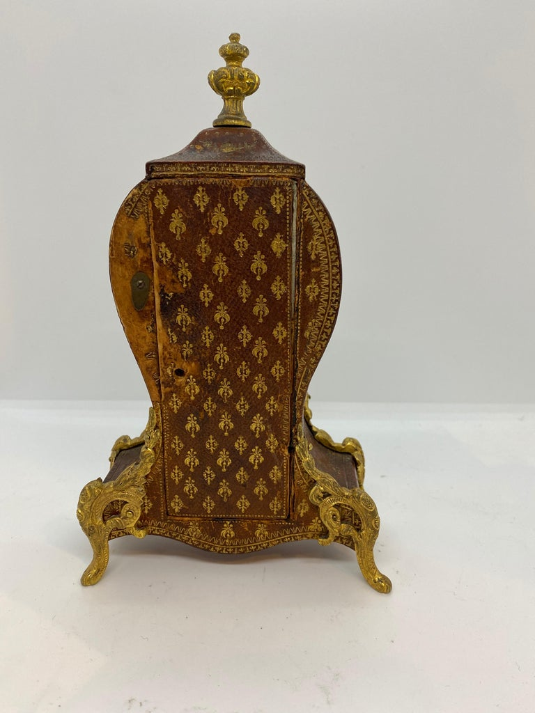 French Louis XV Tooled Leather Clock In Fair Condition For Sale In New Orleans, LA