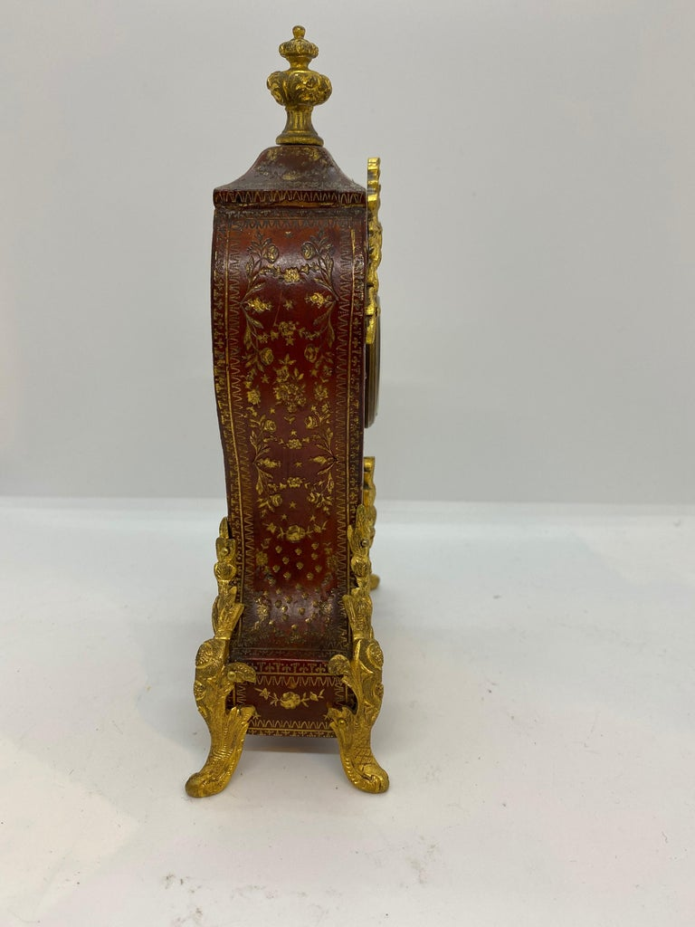 19th Century French Louis XV Tooled Leather Clock For Sale