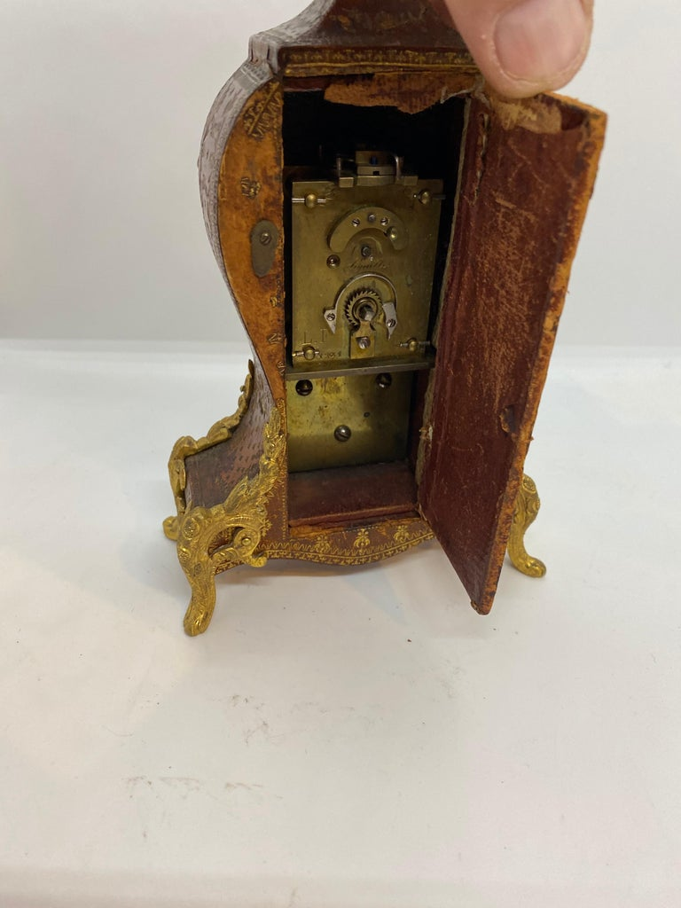 French Louis XV Tooled Leather Clock For Sale 1