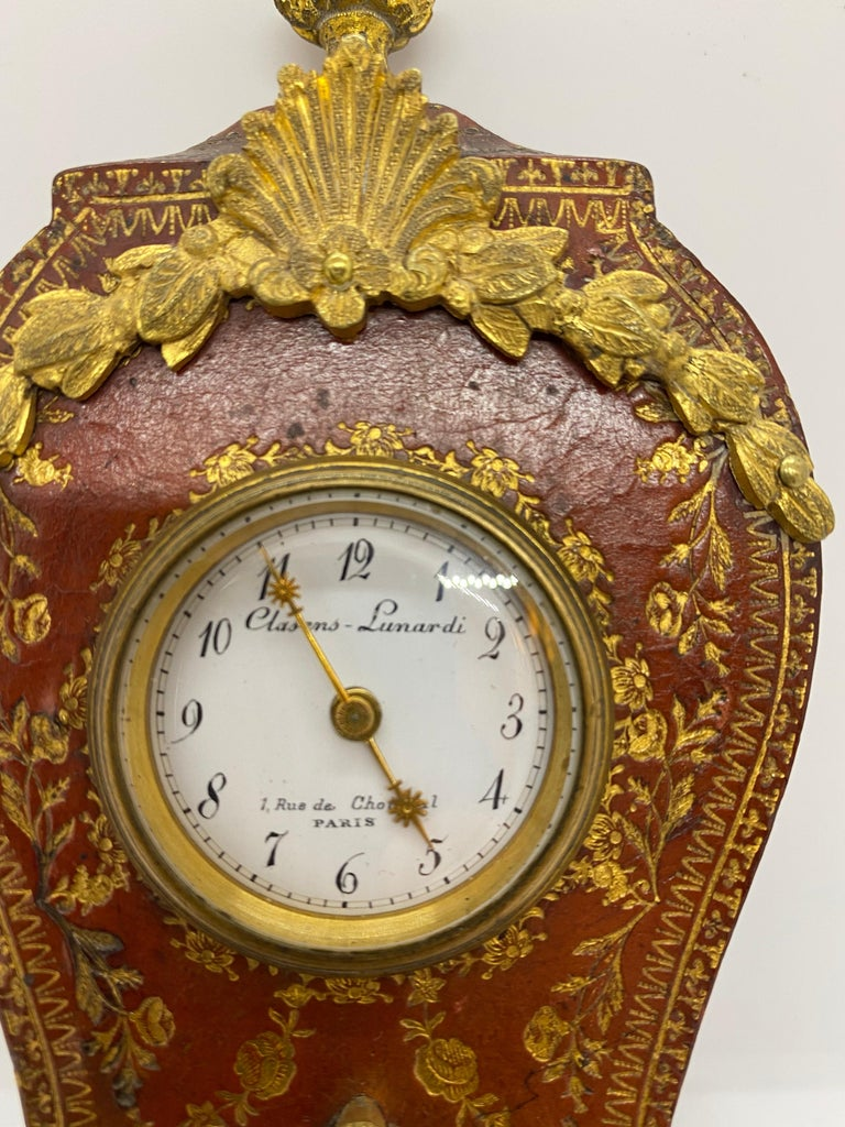 French Louis XV Tooled Leather Clock For Sale 3