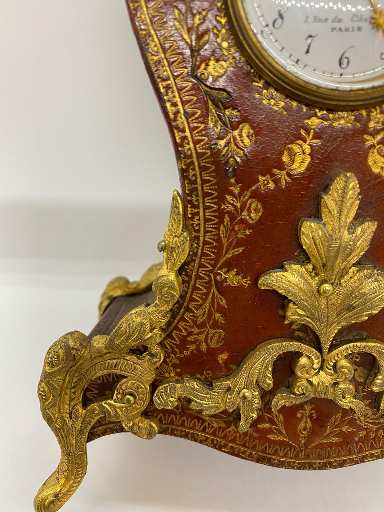 French Louis XV Tooled Leather Clock For Sale 4