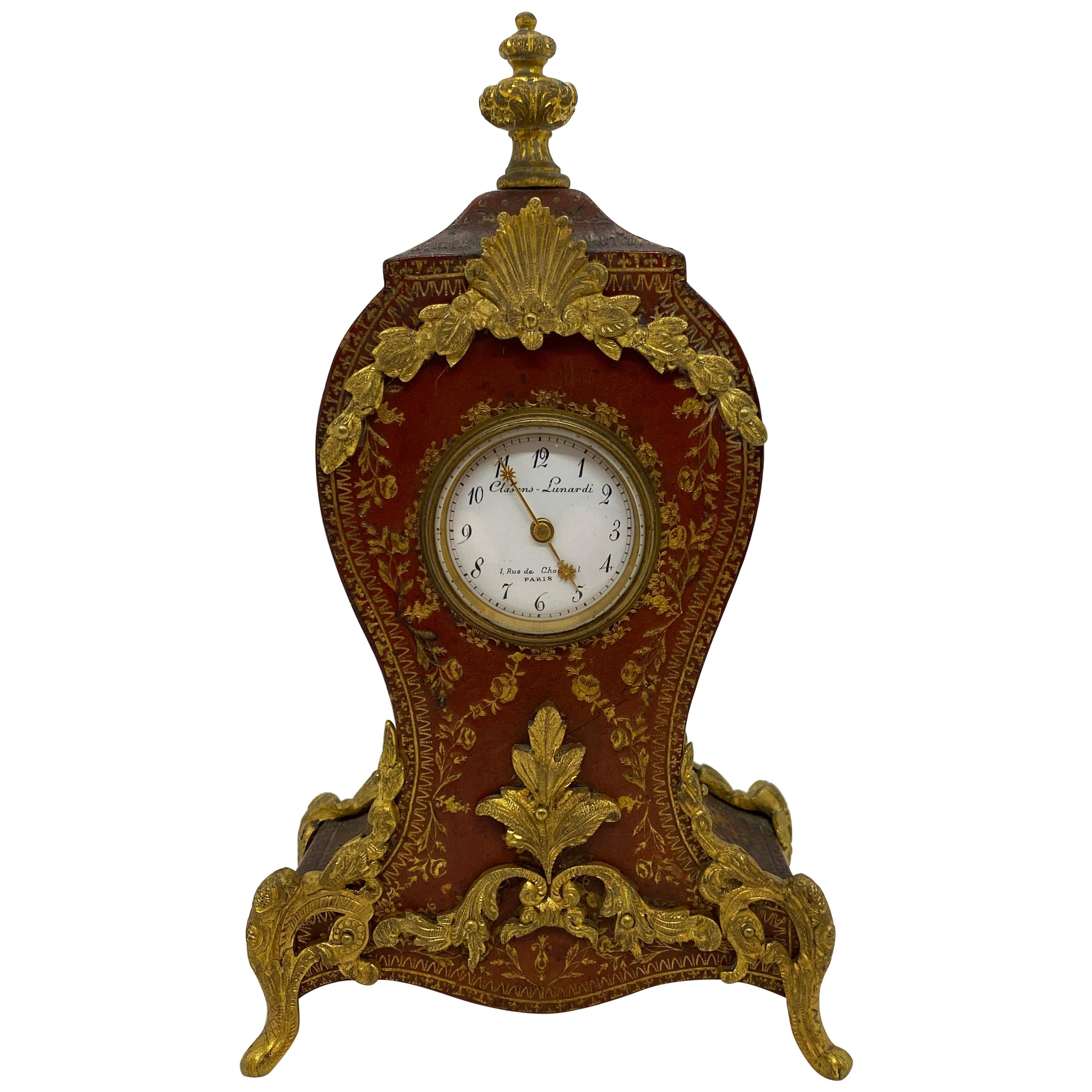 French Louis XV Tooled Leather Clock