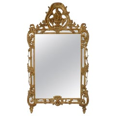 French Louis XV Trumeau Gold Giltwood Mirror