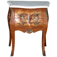 French Louis XV Two-Drawer Marquetry Nightstand or Side Table with Ormolu