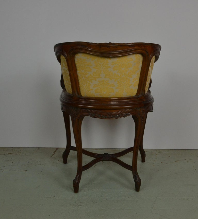 Walnut French Louis XV Vanity Chair For Sale