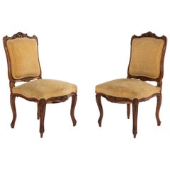 French Louis XV Velvet Walnut Side Chairs