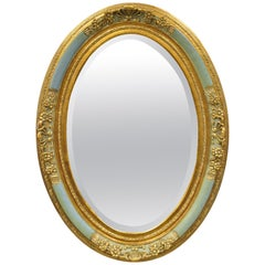 French Louis XV Victorian Green Gold Gilt Beveled Glass Oval Mirror by Uttermost