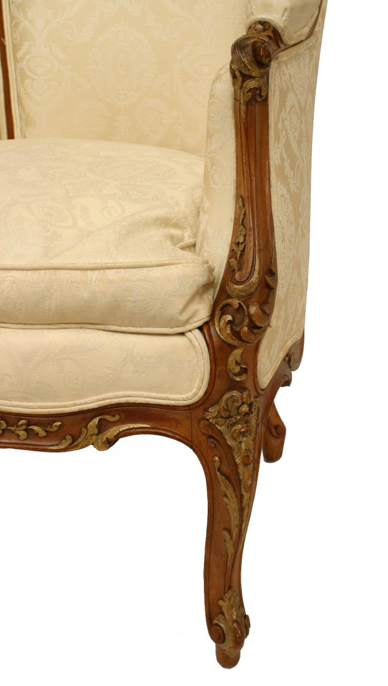 French Louis XV Walnut Bergere Armchair For Sale 5