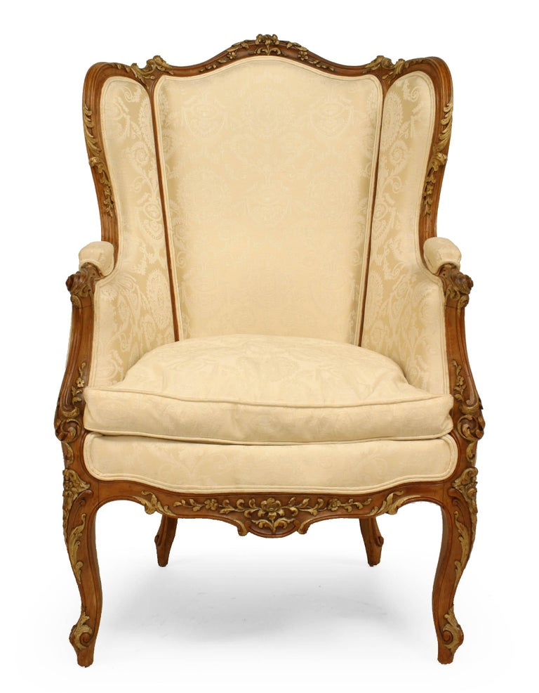 19th Century French Louis XV Walnut Bergere Armchair For Sale