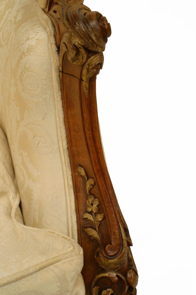 Upholstery French Louis XV Walnut Bergere Armchair For Sale