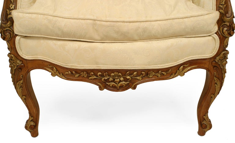 French Louis XV Walnut Bergere Armchair For Sale 4