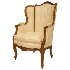 French Louis XV Walnut Bergere Armchair