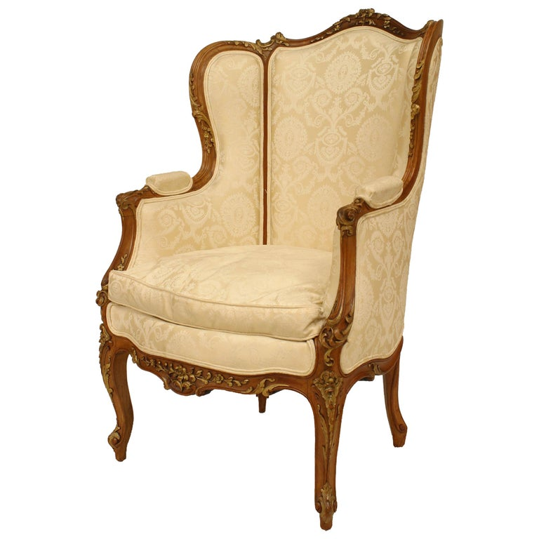 French Louis XV Walnut Bergere Armchair For Sale