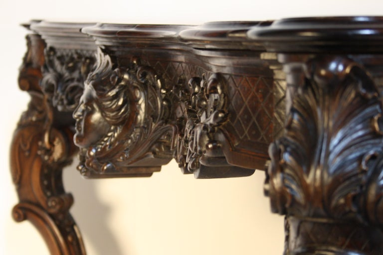 French Louis XV Walnut Hand-Carved Table, 19th Century For Sale 3