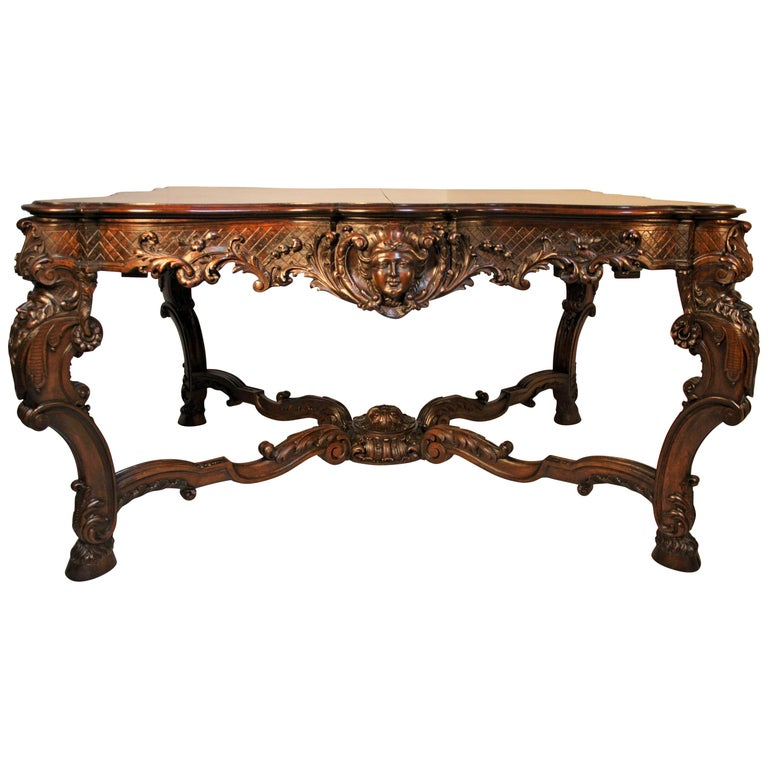 French Louis XV Walnut Hand-Carved Table, 19th Century For Sale