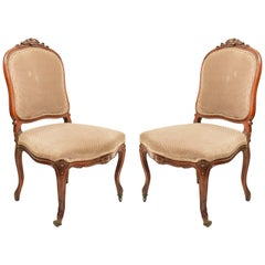 French Louis XV Walnut Side Chairs
