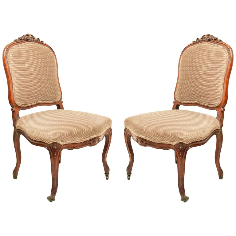 French Louis XV Walnut Side Chairs For Sale