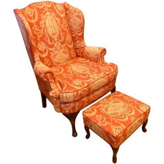 French Louis XV Wingback Arm Chair in Chinoiserie Toile Mahogany and Fabric