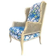 French Louis XV Wingback Bergère with Cane Weaved Sides