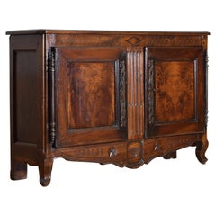 French Louis XV/XVI Carved Walnut Buffet, Third Quarter of the 18th Century