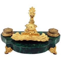French Louis XV1 Style Malachite and Gilt Bronze Pen Tray