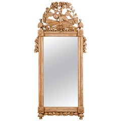 French Louis XVI 1780s Carved Mirror with Kissing Doves Foliage and Gilt Accents