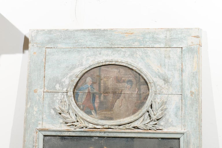 French Louis XVI 1790s Blue Grey Painted Trumeau Mirror with Oval Painting In Good Condition For Sale In Atlanta, GA