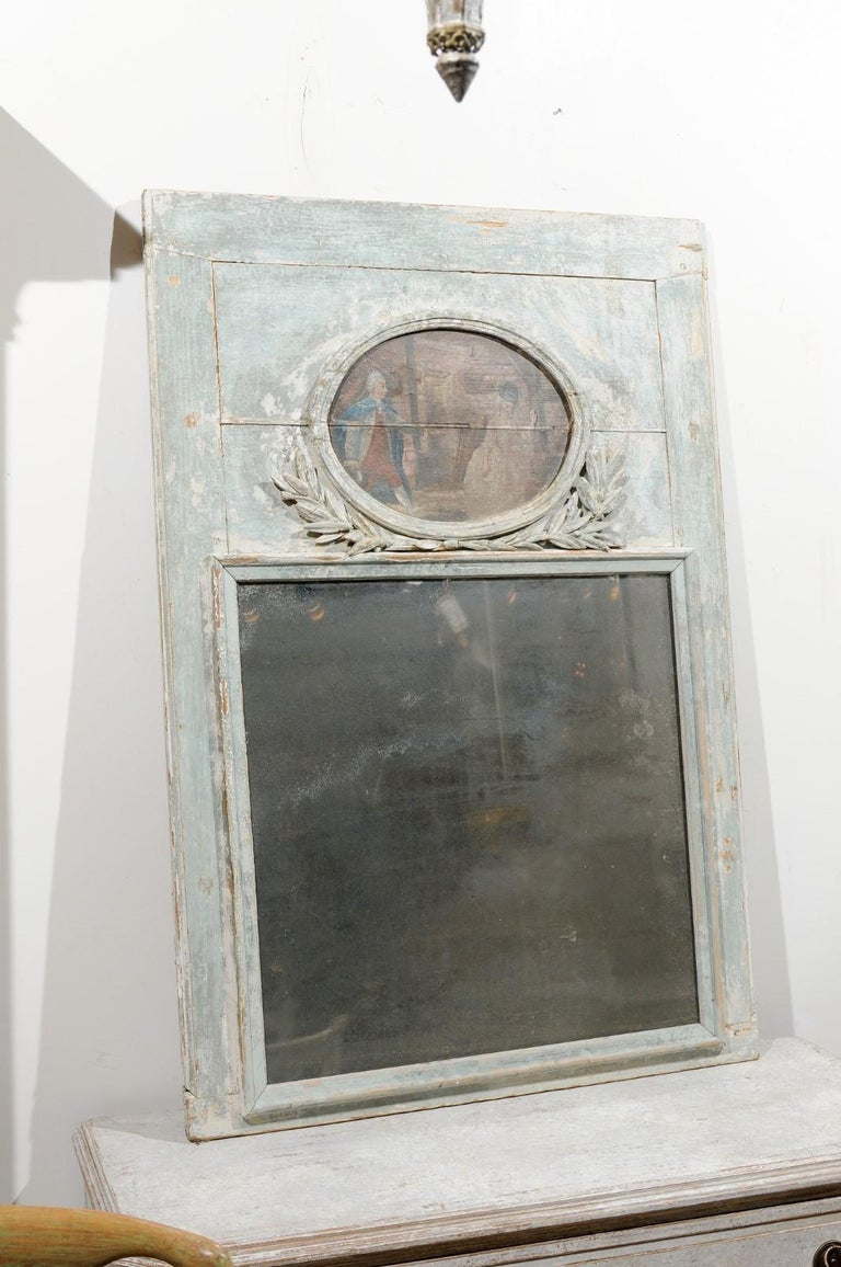French Louis XVI 1790s Blue Grey Painted Trumeau Mirror with Oval Painting For Sale 2