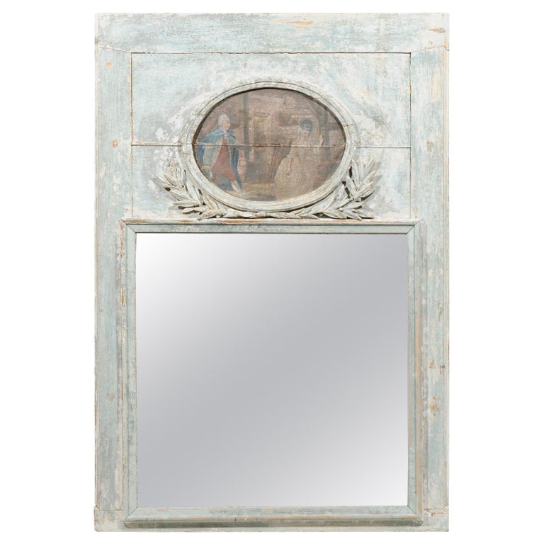 French Louis XVI 1790s Blue Grey Painted Trumeau Mirror with Oval Painting For Sale