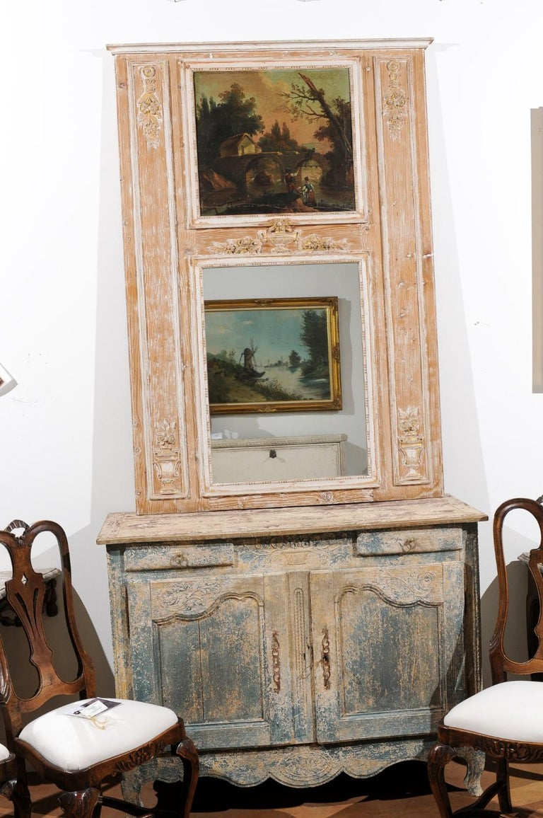 Carved French Louis XVI 1790s Trumeau Mirror with Original Painting and Gilt Details For Sale