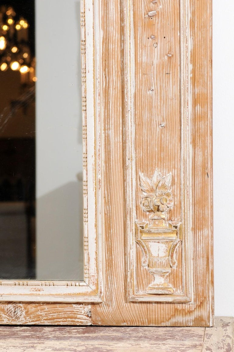 18th Century French Louis XVI 1790s Trumeau Mirror with Original Painting and Gilt Details For Sale