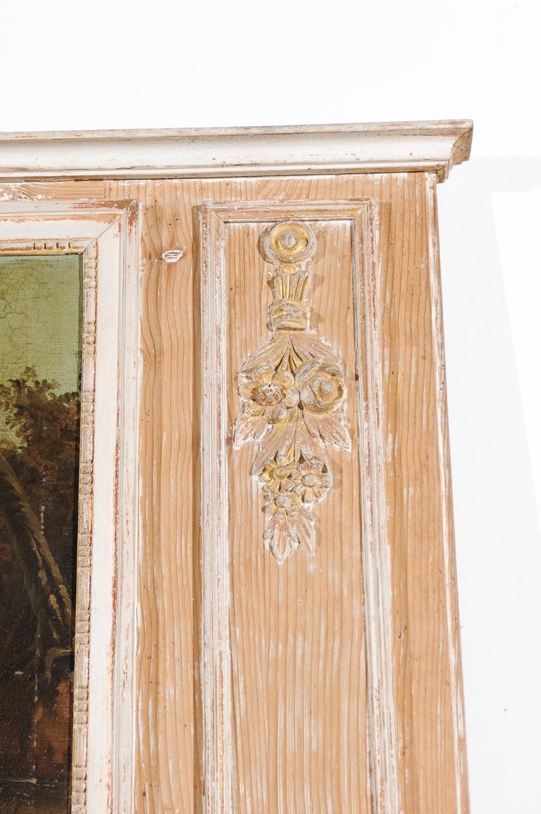 French Louis XVI 1790s Trumeau Mirror with Original Painting and Gilt Details For Sale 2