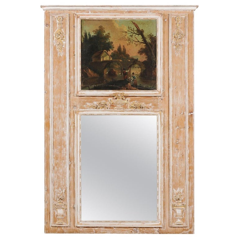 French Louis XVI 1790s Trumeau Mirror with Original Painting and Gilt Details For Sale