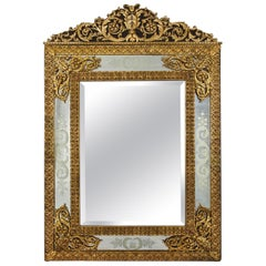 French Louis XVI Antique Gilt Bronze Wall Mirror by Alexandre Jeune, circa 1880