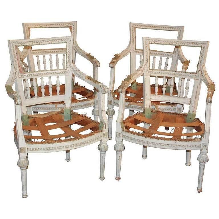 French Louis XVI Armchairs, Set of Four, circa 1900 For Sale