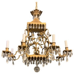 French Louis XVI Baguès Rock Crystal Eight-Light Square Pagoda Basket Chandelier