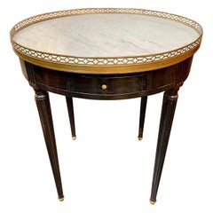 French Louis XVI Black Lacquered Boiullette Table with Marble Top