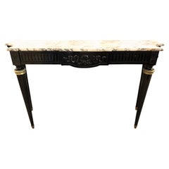 French Louis XVI Black Lacquered Console with Brass Details and Marble Top