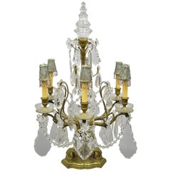 French Louis XVI Bronze and Crystal Prism Girandole Electrified Candelabra Lamp