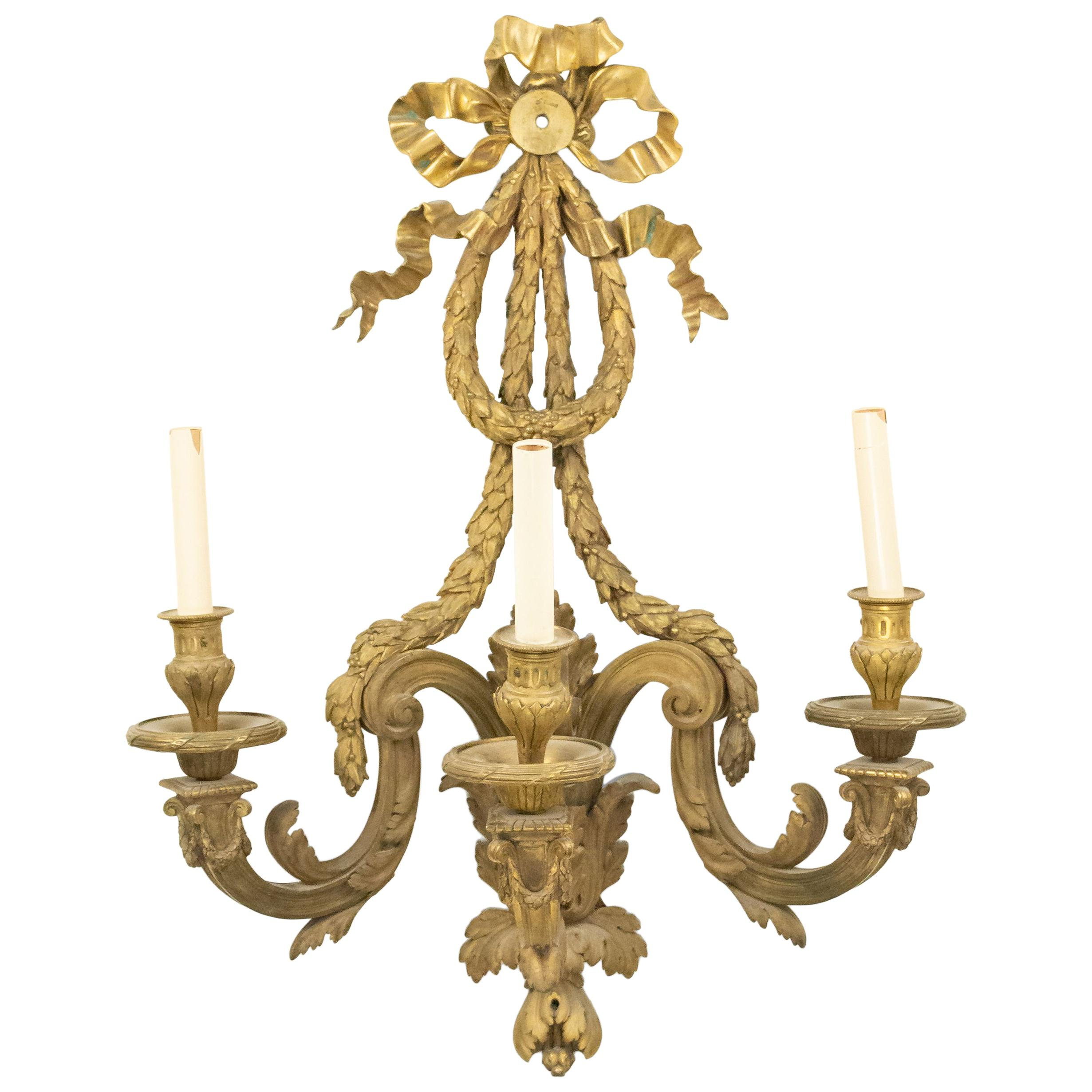 French Louis XVI Bronze Dore Wall Sconce