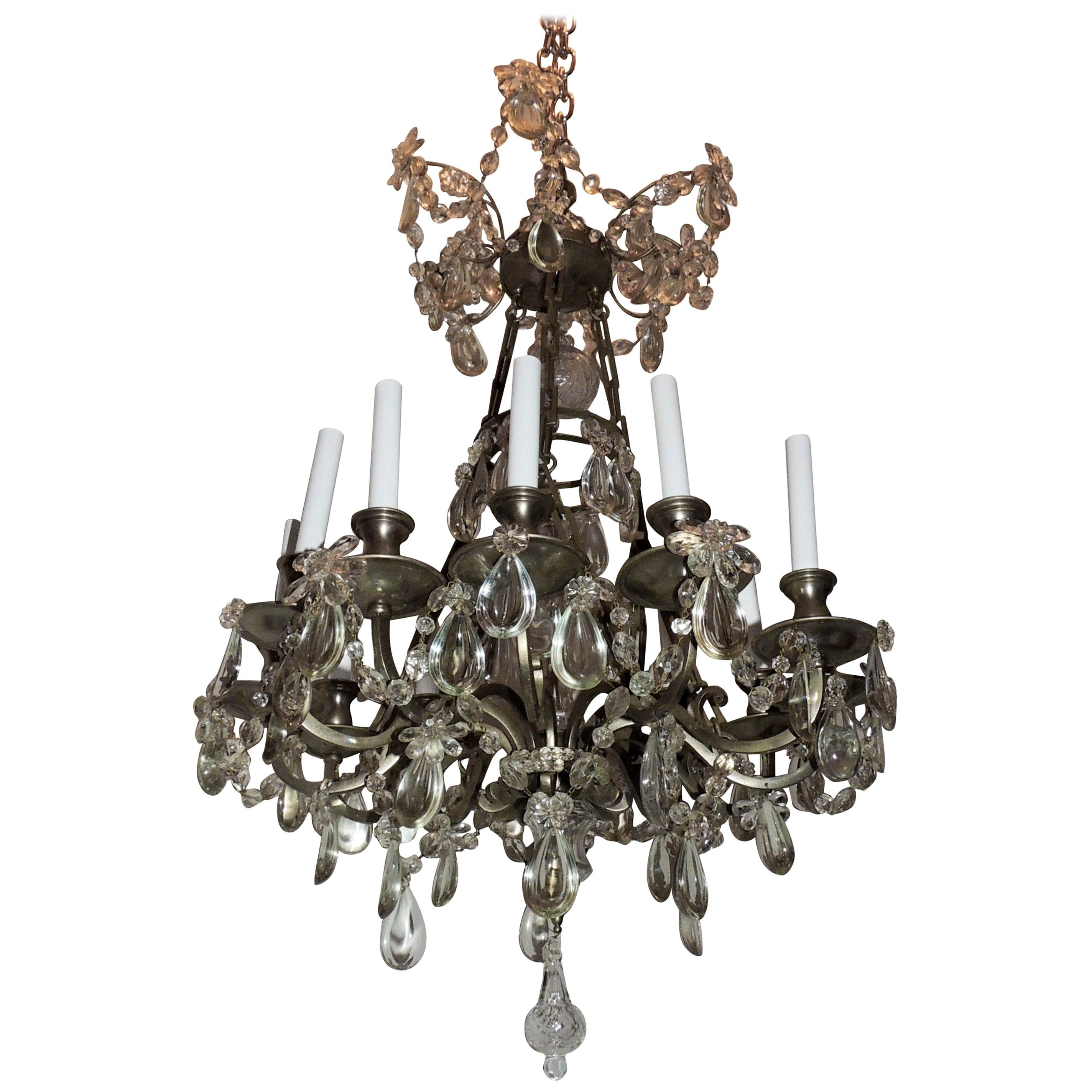 French Louis XVI Brushed Silvered Bronze Crystal Beaded Neoclassical Chandelier