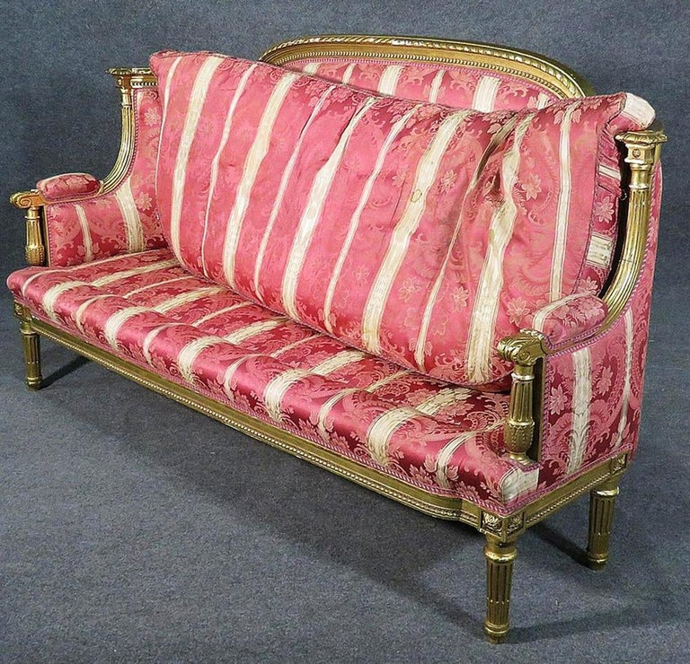 French Louis XVI Carved 19th Century Gilded Carved Settee Canape Sofa For Sale 5
