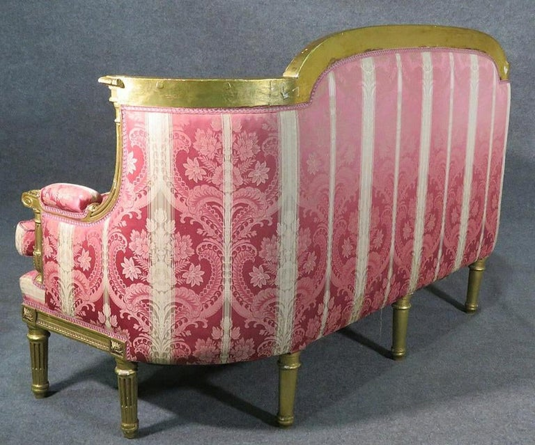 French Louis XVI Carved 19th Century Gilded Carved Settee Canape Sofa In Good Condition For Sale In Swedesboro, NJ