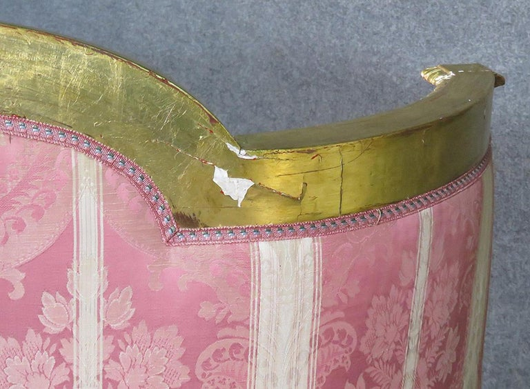 Beech French Louis XVI Carved 19th Century Gilded Carved Settee Canape Sofa For Sale