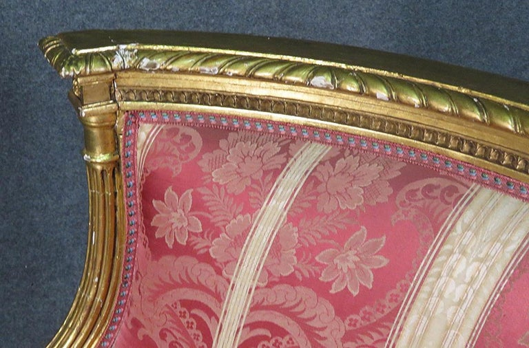 French Louis XVI Carved 19th Century Gilded Carved Settee Canape Sofa For Sale 2