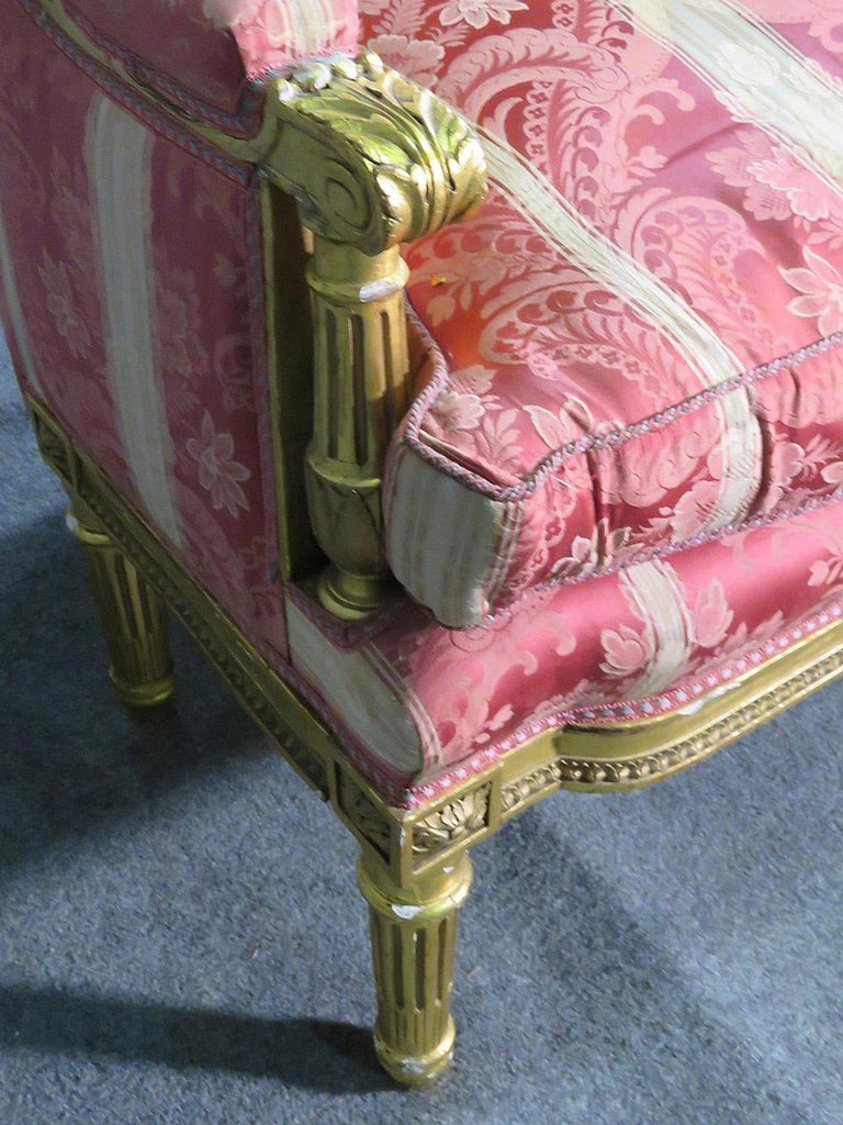 French Louis XVI Carved 19th Century Gilded Carved Settee Canape Sofa For Sale 3