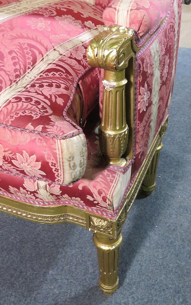 French Louis XVI Carved 19th Century Gilded Carved Settee Canape Sofa For Sale 4