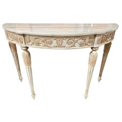 French Louis XVI Carved and Painted Console with Onyx Top